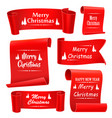 merry christmas paper banners set of five red vector image