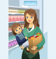 mother carrying her daughter and grocery bags vector image
