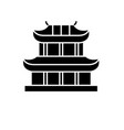 pagoda black icon sign on isolated vector image