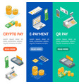 payment methods banner vecrtical set isometric vector image vector image