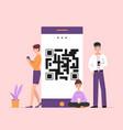 people online on qr smartphone vector image vector image