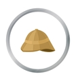 Pith helmet icon in cartoon style isolated on vector image