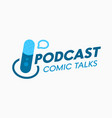 podcast comic talks banner or label for online vector image