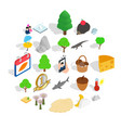 reservation icons set isometric style vector image