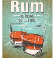 Rum in glasses on grunge background vector image vector image