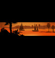 sailing boats silhouette at sea on beautiful vector image vector image