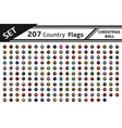 set 207 country flag christmas ball vector image vector image