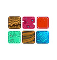 set of 6 square tiles with different vector image vector image