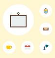 set of bureau icons flat style symbols with id vector image vector image