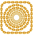 Set of Circle Gold Chain Frames Isolated vector image vector image