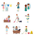 set of girl in different situations lifestyle vector image