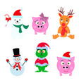 set of happy christmas animals person icons vector image vector image