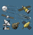 space shuttle radio telescope and comet asteroid vector image