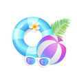 summer season exotic icons set vector image vector image