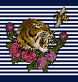 tiger bee and peony flowers embroidery vector image vector image