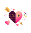 valentines day card with stylized flat heart vector image vector image