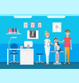 veterinary clinic veterinarian and pet on checkup vector image vector image