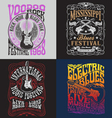 Vintage Rock Poster T-shirt Design Set vector image