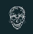 White skull tattoo on dark background mexican