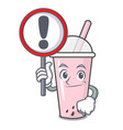 with sign raspberry bubble tea character cartoon vector image vector image