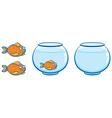 aquarium and goldfish with smile vector image