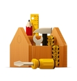 wooden toolbox with tools icon vector image