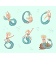 mermaids set in car vector image