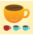 Smiling cup of coffee icons set vector image