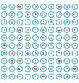 100 oriental trip icons set cartoon style vector image vector image