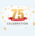 75 anniversary gold numbers with golden confetti vector image