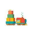 a toy train with presents vector image
