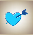 arrow heart sign sky blue icon with vector image vector image