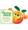 banner for orange juice with cute character orange vector image