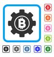 bitcoin development gear framed icon vector image vector image