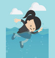 businesswoman swimming in sea concept business vector image
