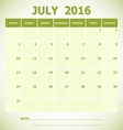 Calendar July 2016 week starts Sunday vector image vector image