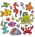 Cartoon Funny Fish Sea Life Colored Doodle set vector image vector image