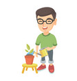 caucasian boy watering plant with a watering can vector image vector image