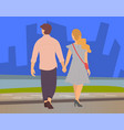 couple walks in cityscape young couple holding vector image