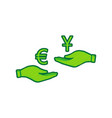 currency exchange from hand to hand euro and yuan vector image vector image