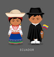 ecuadorians in national dress with a flag vector image vector image