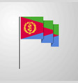 eritrea waving flag creative background vector image vector image