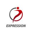 expression circle human character logo concept vector image
