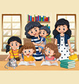family member with kids doing homework cartoon vector image