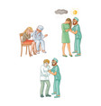 flat doctors calming down patients set vector image