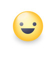 Fun yellow cartoon emoji face with smile and open