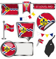 glossy icons with flag st louis mo vector image vector image