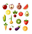 healthy food colored flat icon set fruits vector image