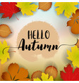 hello autumn banner paper colorful tree leaf vector image vector image