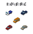isometric transport set of auto car suv and vector image vector image